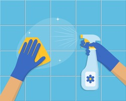 Cleaning concept. Hand in blue rubber glove cleans the tile with sponge and cleaning spray. Cleaning service background design. Vector illustration in flat style
