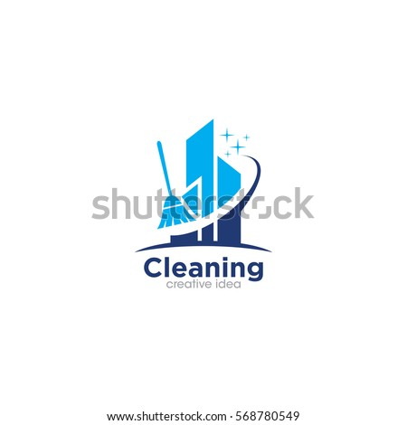 cleaning creative concept logo
