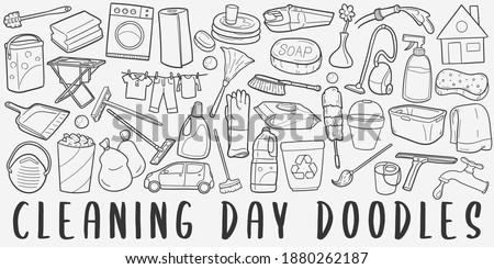 Cleaning Day, doodle icon set. Chores Style Vector illustration collection. Clean Tools Banner Hand drawn Line art style. Stock photo ©