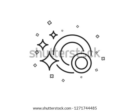 Cleaning dishes line icon. Dishwasher sign. Clean tableware sign. Geometric shapes. Random cross elements. Linear Clean dishes icon design. Vector