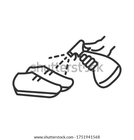 cleaning disinfection, spray alcohol in shoes, coronavirus prevention sanitizer products line style icon vector illustration ストックフォト ©
