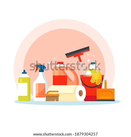 Cleaning equipment. Cleaning supplies tools accessories set: buckets, tools, brushes, basins, gloves, sponges. Household supplies, cleaning up debris and dust, cleaning floors. Mopping and cleanup.