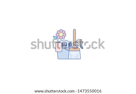 Cleaning equipments concept icon in trendy flat style isolated on white background.Cleaning equipments concept symbol. Vector illustration