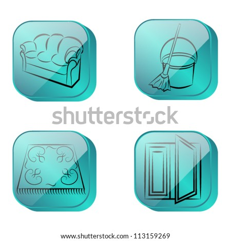 cleaning, four icons blue