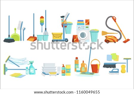 Cleaning Household Equipment Sets. Clean Up Special Objects And Chemicals Compositions Collection Of Realistic Objects. Flat Vector Drawings