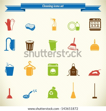 Cleaning icon set in color