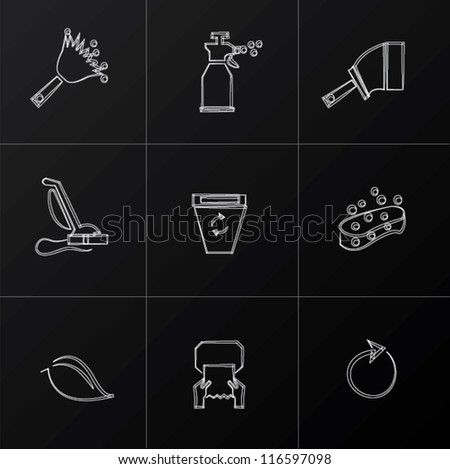 Cleaning icon set,Vector - stock vector