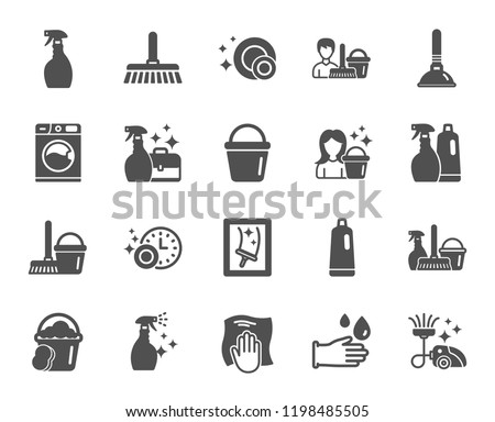 Cleaning icons. Laundry, Sponge and Vacuum cleaner signs. Washing machine, Housekeeping service and Maid equipment symbols. Window cleaning and Wipe off. Quality design element. Classic style. Vector