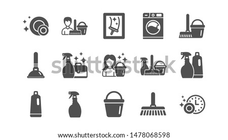 Cleaning icons. Laundry, Window sponge and Vacuum cleaner. Washing machine classic icon set. Quality set. Vector Stockfoto ©