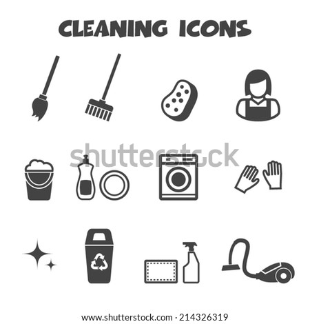 cleaning icons mono vector symbols