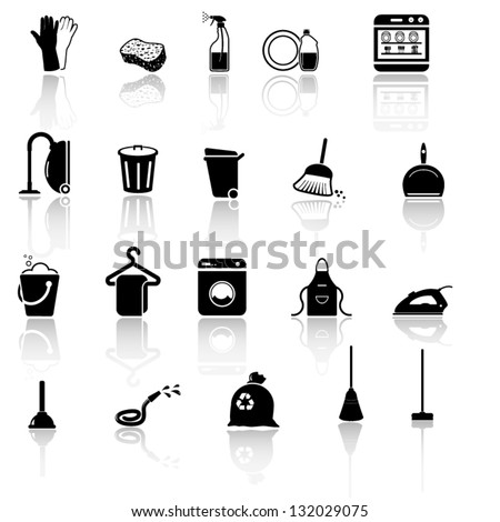 Cleaning icons set black series