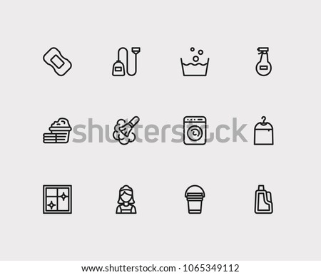 Cleaning icons set. Cleaning maid icon with laundry, window and dry cleaning. Set of glass for web app logo UI design.