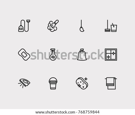 Cleaning icons set with cleaning bucket, ironing and cleaning mop elements. Set of cleaning icons also including sweeper sign for your web app logo UI design.