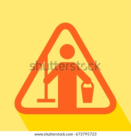 Cleaning in Progress. Cleaning in Progress Sign with long shadow. All in a single layer. Vector illustration. Caution Cleaning in Progress Sign.