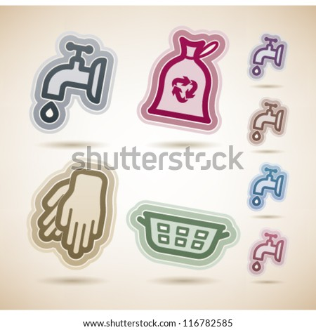 Cleaning items and other related cleaning tools, from left to right:  Valve, Rubbish bag, Rubber gloves, Laundry basket. - stock vector