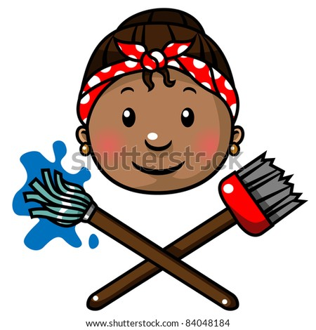 Cleaning lady with a mop and a broom icon, vector illustration