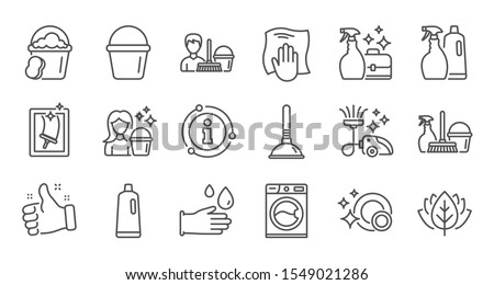 Cleaning line icons. Laundry, Window sponge and Vacuum cleaner. Washing machine linear icon set. Quality line set. Vector