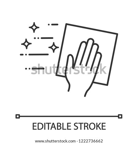 Cleaning napkin linear icon. Windows cleaning cloth. Thin line illustration. Surface wiping, disinfection. Contour symbol. Vector isolated outline drawing. Editable stroke