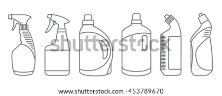 Cleaning product plastic container for house clean. Bottles of cleaning products. Line Style stock vector.