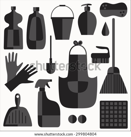 cleaning products flat icons