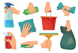 Cleaning products in hands. Hand hold detergent, housework supplies and cleanup rag. Kitchen cleaning, house washing disinfection equipment. Cartoon vector illustration isolated icons set