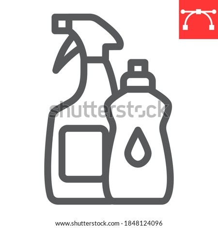 Cleaning products line icon, hygiene and chemical, household cleaner products sign vector graphics, editable stroke linear icon, eps 10 Сток-фото ©