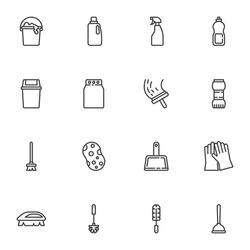Cleaning service line icons set, outline vector symbol collection, linear style pictogram pack. Signs, logo illustration. Set includes icons as sponge, laundry, toilet brush, trash bin, detergent