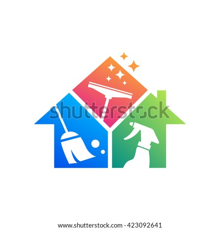 Cleaning service logo design idea. Creative Eco symbol template. Building and House