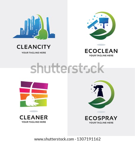 Cleaning Service Logo Set Design Template Collection