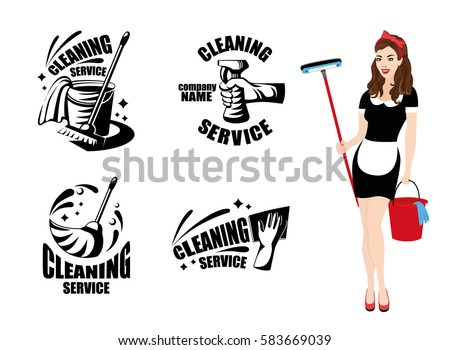 cleaning service logotypes with