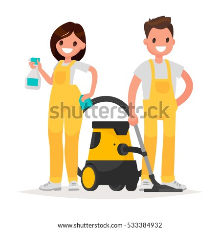 Cleaning service. Man and woman dressed in uniform on isolated background. Vector illustration in a flat style