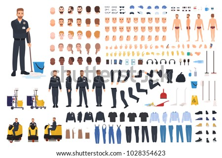 Cleaning service worker creation set or constructor. Bundle of janitor body parts, gestures, uniform and clothing, equipment, floor polisher isolated on white background. Vector illustration.