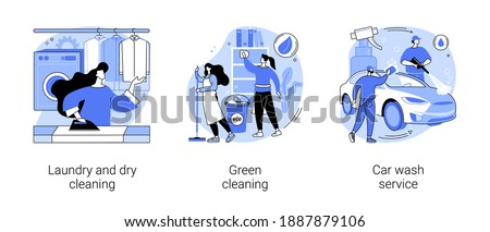 Cleaning services abstract concept vector illustration set. Laundry and dry cleaning, green washing chemical, car wash service, automatic vehicle vacuum, self-serve station abstract metaphor.