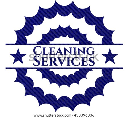 Cleaning Services badge with denim background