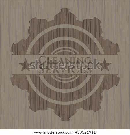 Cleaning Services badge with wood background