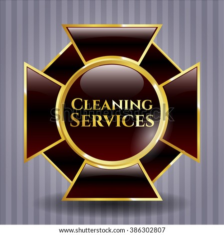 Cleaning Services golden emblem or badge