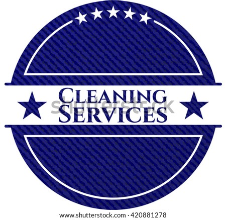 Cleaning Services jean or denim emblem or badge background