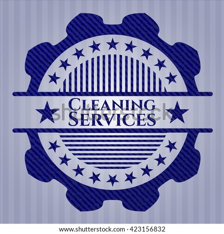Cleaning Services jean or denim emblem or badge background