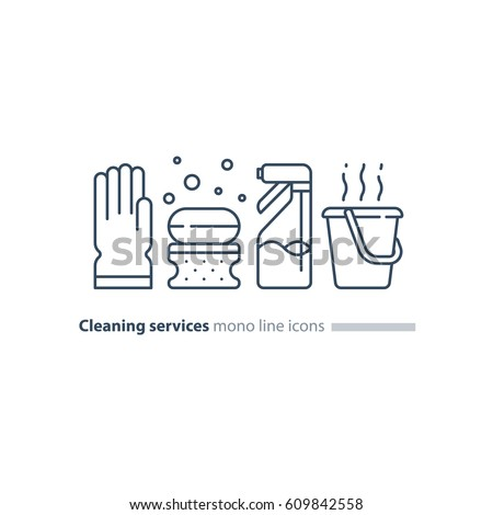 Cleaning services set, rubber glove, soap bubbles and sponge, spray bottle and hot water bucket, household and housekeeping hygiene items, equipment and supplies, mono line vector icon collection