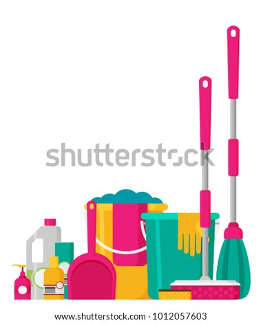 cleaning set  isolate  flat