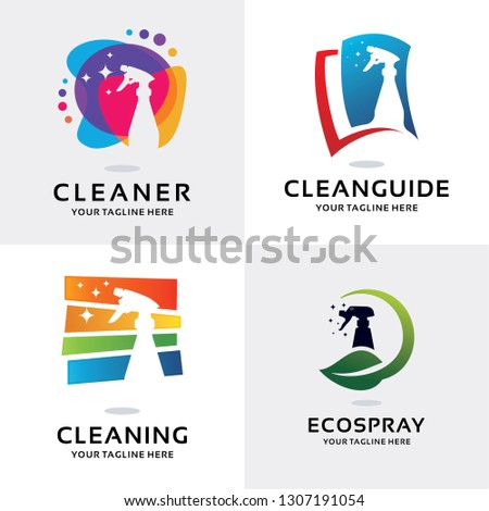 Cleaning Spray Logo Set Design Template Collection