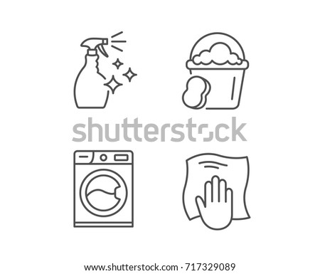 Cleaning Spray Washing Machine And Housekeeping Service Line Icons Laundry Sponge Bucket
