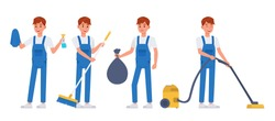 Cleaning staff character vector design no6