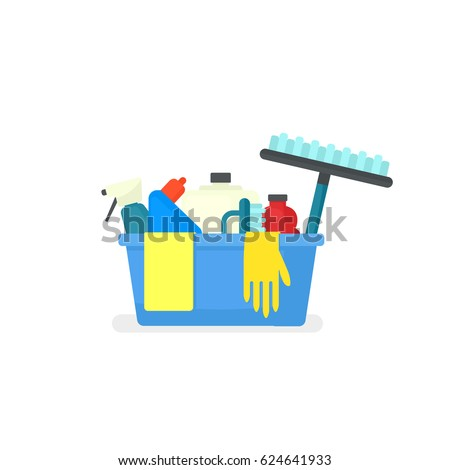 cleaning supplies in bucket. Vector illustration