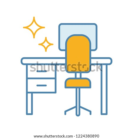 Cleaning table desk color icon. Keeping workplace clean. Tidy home or office desk. Isolated vector illustration