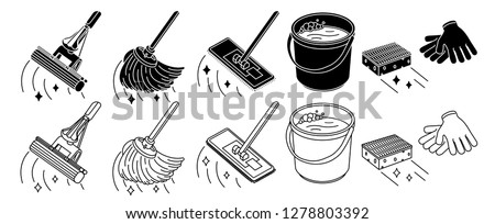 Cleaning tools set, mop, bucket thin line icon, isolated on white. Vector illustration. Stock foto ©