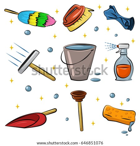 Cleaning tools vector cartoon set isolated on white background. Duster, sponge, rag, squeegee for window, spray bottle, fetlock, plastic scoop, plunger, bucket of water. Hand supplies for housework.