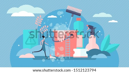 Cleaning vector illustration. Flat tiny dust and dirt washing persons concept. Professional hygiene service for domestic households. Sanitary chemical products for laundry, floor, kitchen and toilet.