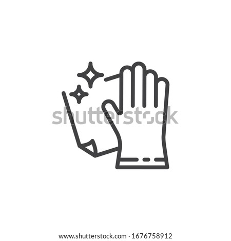 Cleaning with rag line icon. linear style sign for mobile concept and web design. Hand wiping with cloth outline vector icon. Cleaning service symbol, logo illustration. Vector graphics