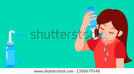 cleaning your nose with saline to protect PM2.5 , Nasal irrigation Flat cartoon vector illustration isolated on EPS10.